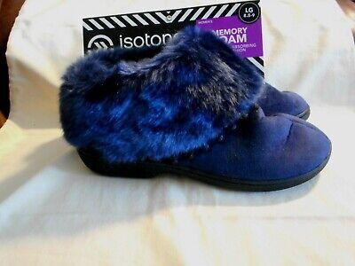 New! Isotoner Dark Navy Memory Foam House Shoe Size 8.5 -9 Womens Signature