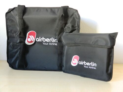 Air Berlin Reisetasche mit Aufbewahrungstasche Schwarz Transporttasche Tasche