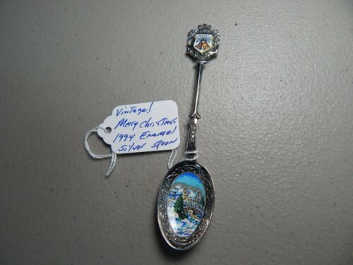 Vintage! Merry Christmas1994 Enamel/Silver-Plated Collectible/Souvenir Spoon