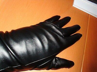 fbc2ed49a5eb6b 100%Neu Schwarz Damen Handschuhe 50cm lang Kunstleder Winterhandschuhe Samt  Stir