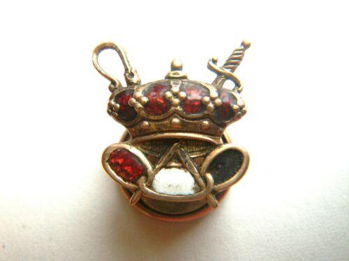 Circa 1900 Odd Fellows Crown Lapel Pin - Red & White Enamel on Gold - Screw Post