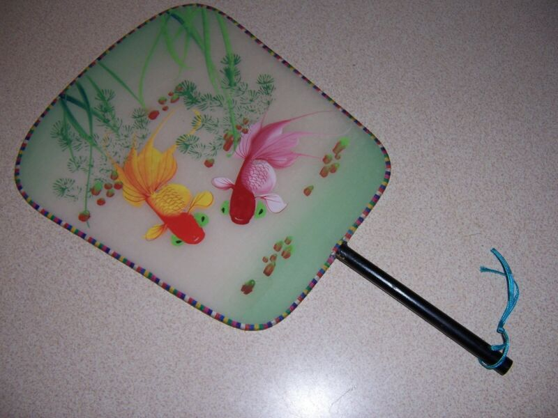 VTG CHINESE HAND-PAINTED SILK FAN w/ GOLDFISH - TROPICAL FISH