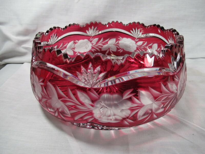 Antique Quality Bavarian Ruby Cranberry Cut To Clear Glass Crystal Toothed Bowl