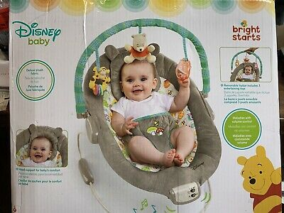 Bright Starts Disney Baby Bouncer Seat Winnie The Pooh Dots & Hunny Pots Bouncy