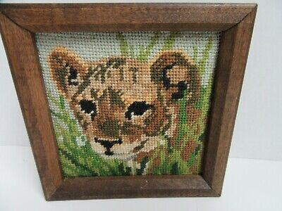 Vintage Finished Needlepoint Lion Cub Completed Wood Framed 6x6 Lion 6 Embroidery