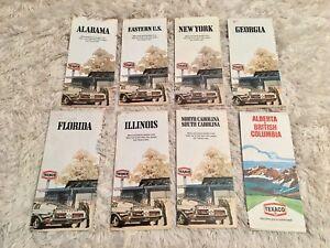 Lot of eight 1970s Texaco road maps