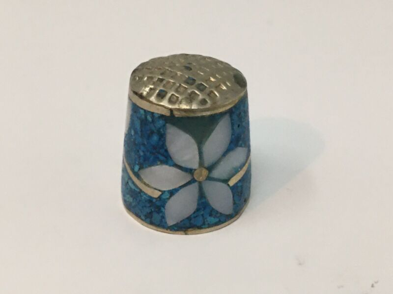 VTG Thimble Pewter Flowers Turquoise Color Collectible Sewing