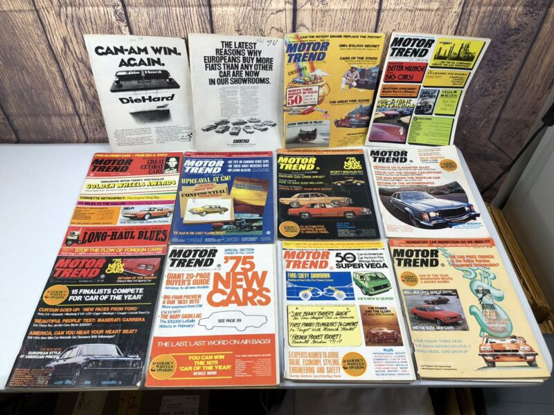 Lot of 12 Vintage 1974 MOTOR TREND Car Magazines (2 missing covers) (e)