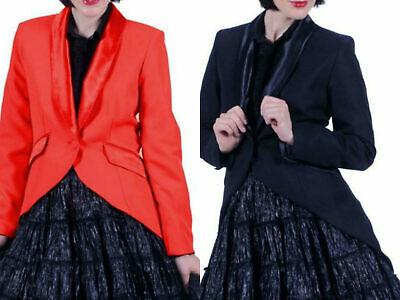 Kostüm Frack Damen rot od schwarz Jacke Gehrock Show Gr.S-XXXL Karneval - Frack Jacke Kostüm