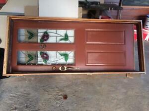 Door solid oak/leadlight panels