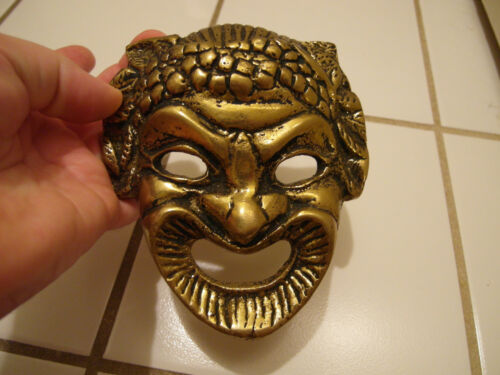 RARE OLD VINTAGE ANTIQUE SOUTHEAST ASIA ASIAN CAST BRASS MASK FACE LEAF EARS