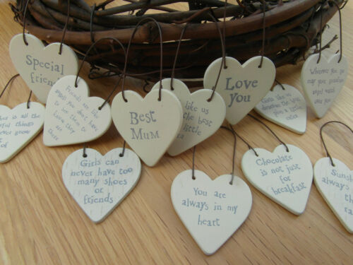 East of India Tiny Small Wood Heart Messages Gift Tags Signs Keepsakes 3cm x 3cm