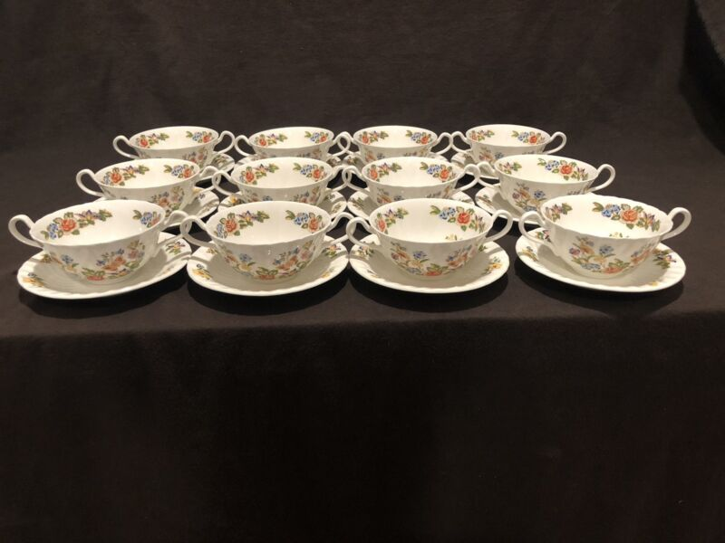 Aynsley Cottage Garden Cream Soup Bowl & Underplate Saucer Set of 12 Handled