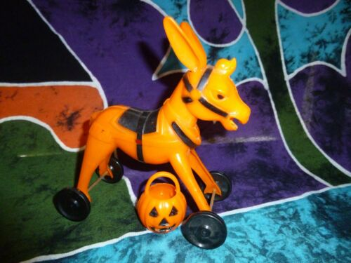 Vintage Halloween Rosbro Plastic Donkey on Wheels with Pumpkin