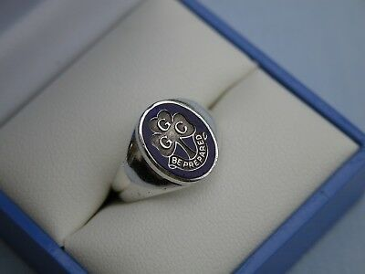 RARE GIRL GUIDES CANADA SOLID STERLING SILVER + BLUE ENAMEL RING - SIZE L 1/2