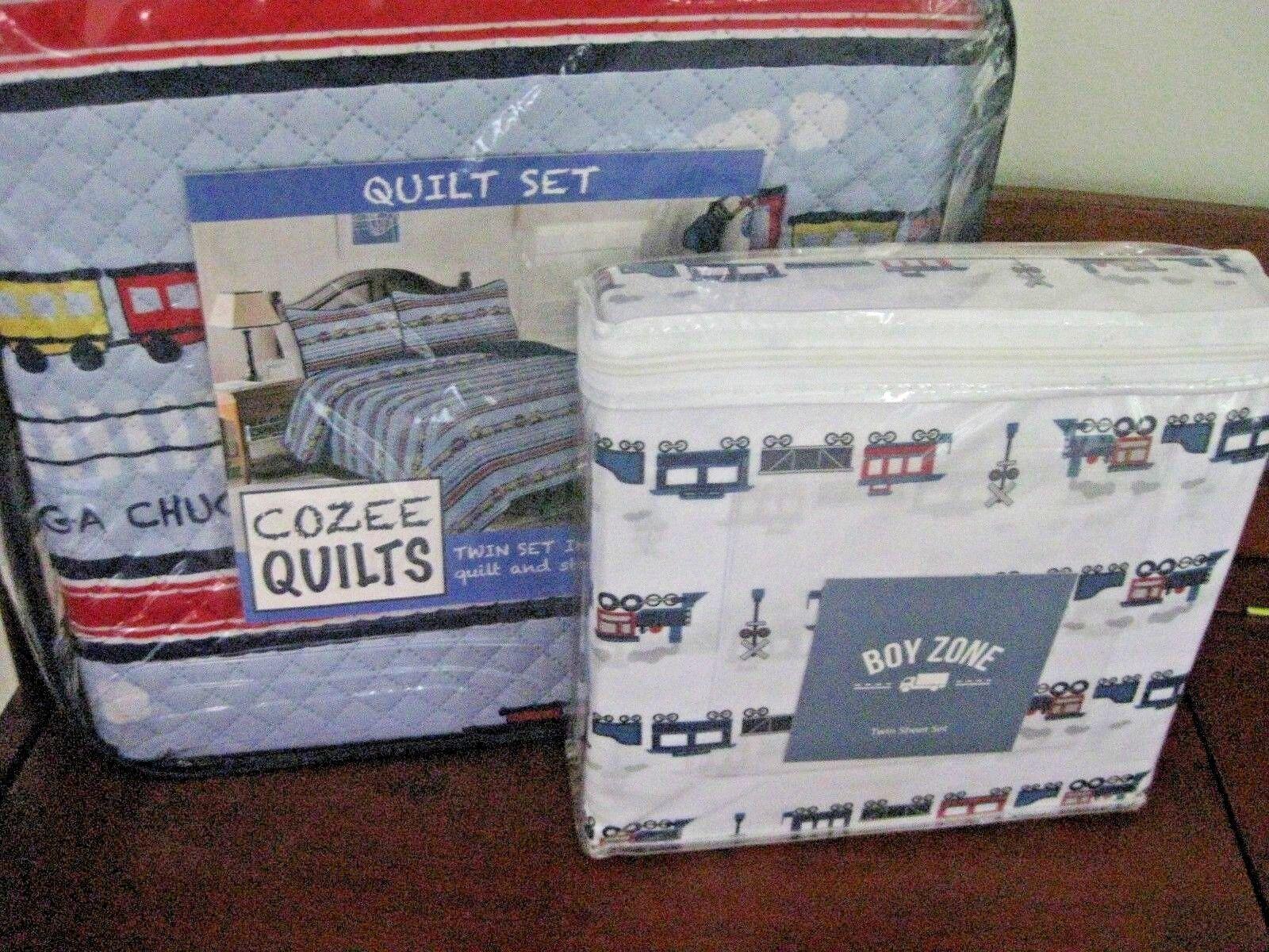 boys kids trains bed quilt set