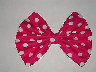 Minnie Mouse Hair Bow (MINNIE MOUSE HAIR BOW, DISNEY INSPIRED,  HOT PINK & WHITE POLKA DOT)