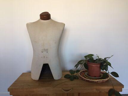 Vintage ANTIQUE male torso MANNEQUIN fabric wood SCULPTURE art