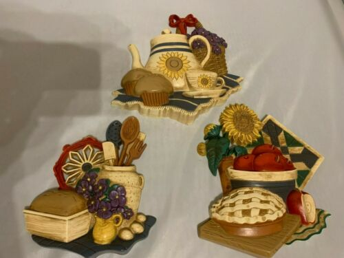 Vintage 3 pc Set Home Interiors 3-D Country Kitchen Wall Plaques