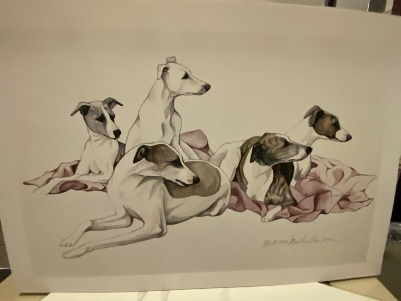 Whippet Puppies Ltd Edition Signed 11x14 Print By Van Loan