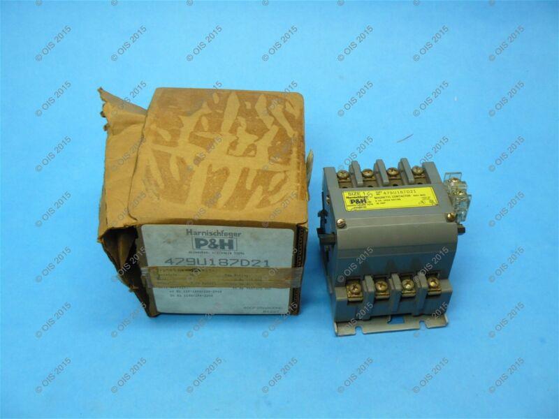 P&H Harnischfeger 479U187D21 Contactor Size 1 4P 30 Amp 120/240 VAC New