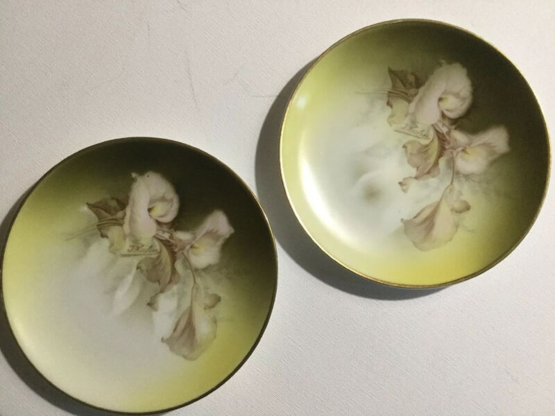 """(2) Royal Rudolstadt Luncheon Plates Prussia 6"""" Hand Painted Calla Lilies"""