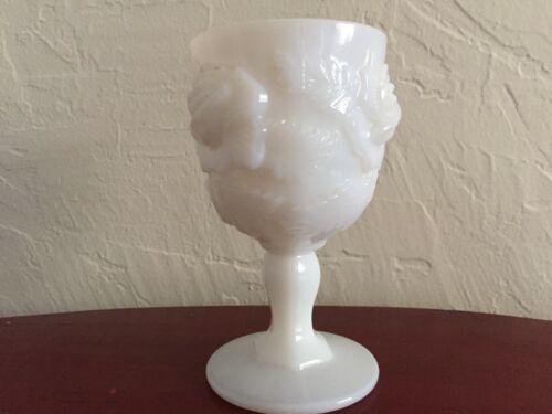 "White Milk Glass Fenton Madonna Inn Wild Rose Goblet 6.5"""