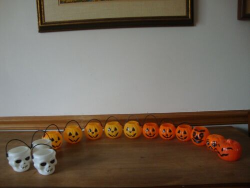 Lot 14 Vintage Halloween Plastic Pumpkin Skull Candy Containers Holder Blow Mold