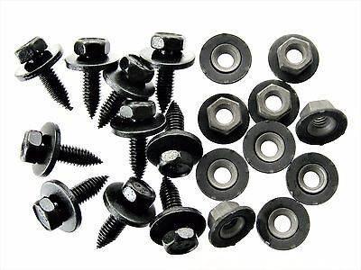 Honda Acura Body Bolts & Barbed Nuts- M6-1.0 x 20mm Long- 10mm Hex- 20 pcs- #124