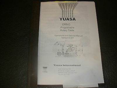 Yuasa Dmnc Programmable Rotary Table Operation Service Manual 0.321