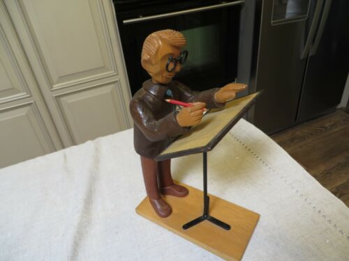 """DRAFTSMAN by Romer Italy Wooden Figurine 12"""" tall"""
