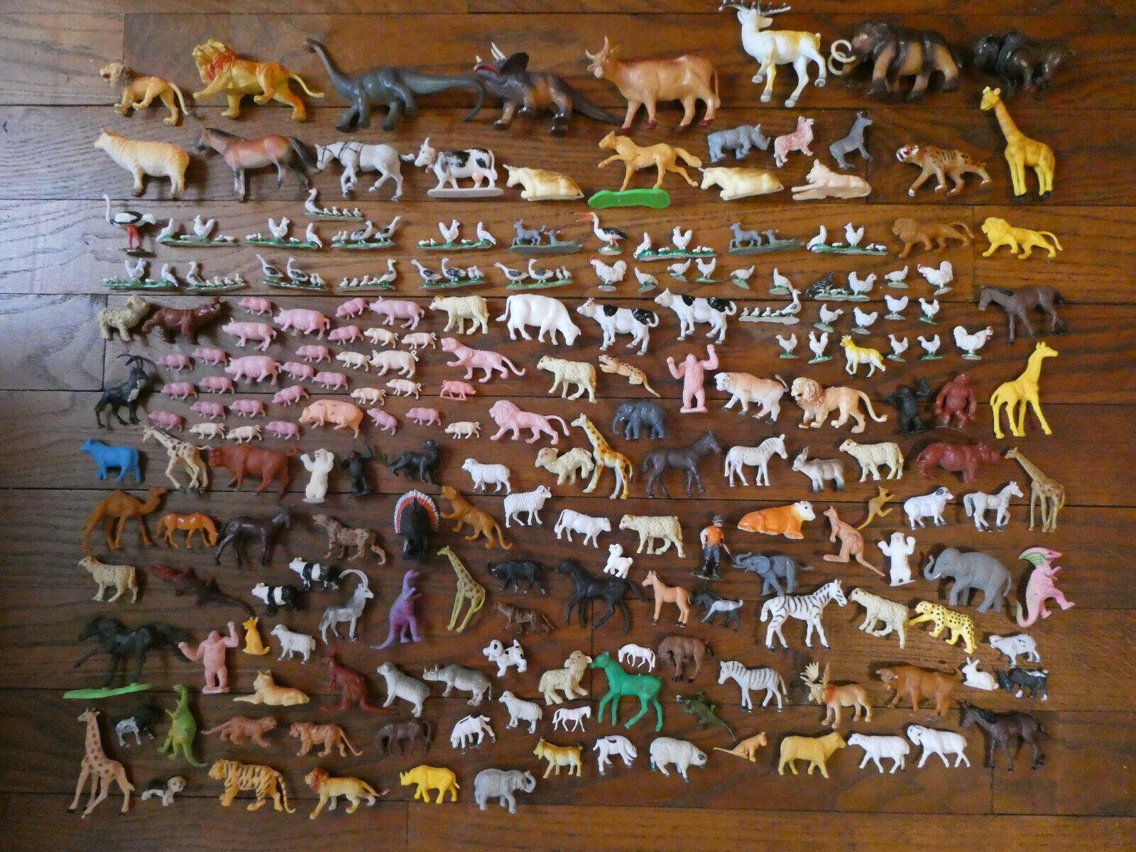 Lot de figurines animaux de la ferme et savane anciens pour certains