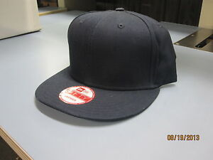 NEW ERA, BLACK, Pro Brand 9Fifty 950 BLANK Flat Bill Snapback Hat Cap