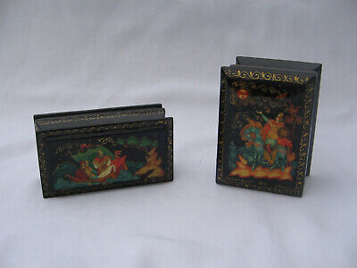 Russian lacquer ware palekh vintage two pair signed boxes trinket Vesnin papier