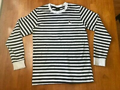 OVO Long Sleeve Black and White Striped T-Shirt - Made in Canada - Small