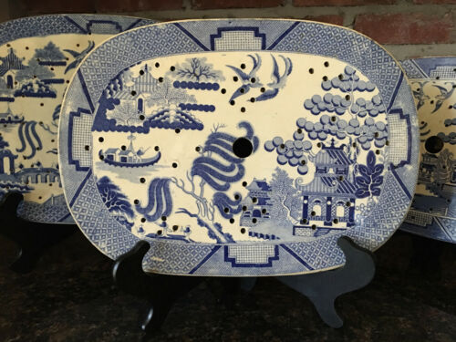 LARGE Antique English Platter Drainer Blue Willow Transferware Plateau c1847 #2