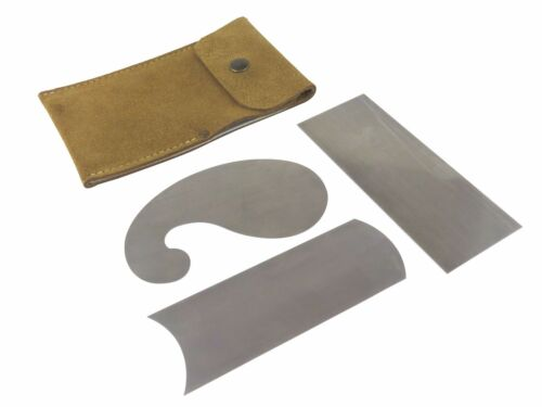 "French Leather Cabinet Scraper w/ 3 Profile Scrapers .023"" Thick 48-52Rc 115572"