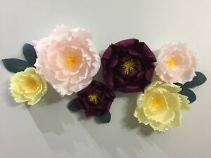 Handcrafted Paper Flower Wall Backdrop Set Of 6 Sale Other Home
