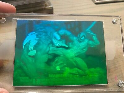 1993 Marvel Universe Series 4 Spider-man vs Venom 3D Hologram H-IV BLUE GREEN