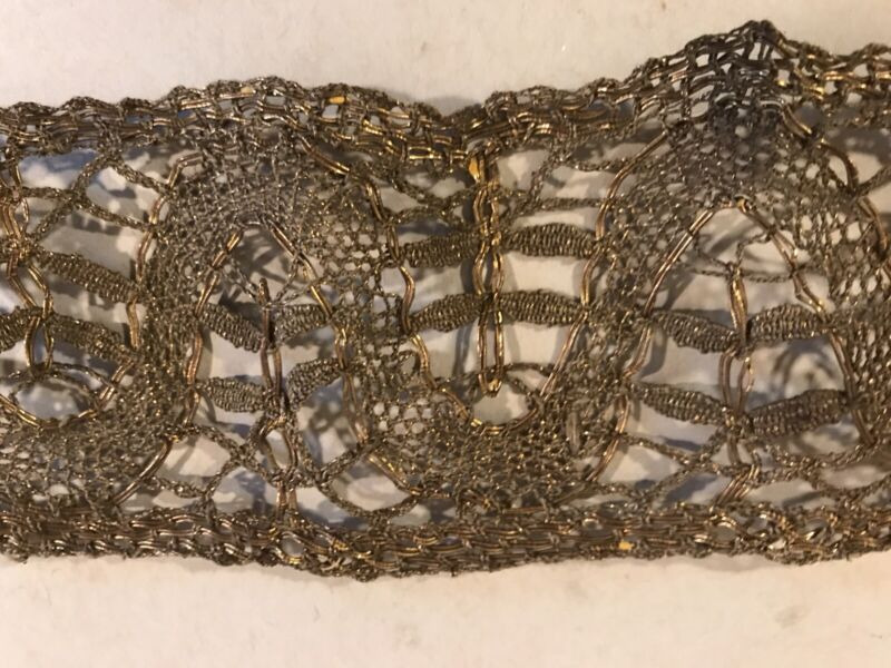 Antique Venise Lace Trim Brass Gold Old