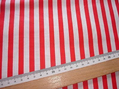 1 Lfm Baumwollstoff 2,63€/m², rot, weiß längsgestreift  90cm breit DJ14