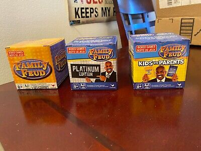 Family Trivia Games (3 NEW SETS Family Feud, Platinum Edition, Kids VS Parents Trivia Box Card)
