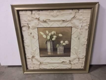 Set of 3 Framed Prints Flower pot vases Old Worldie