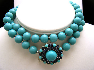 Crown Trifari Vintage Necklace 1960s Turquoise Lucite Bead Rhinestone Box Clasp on Lookza