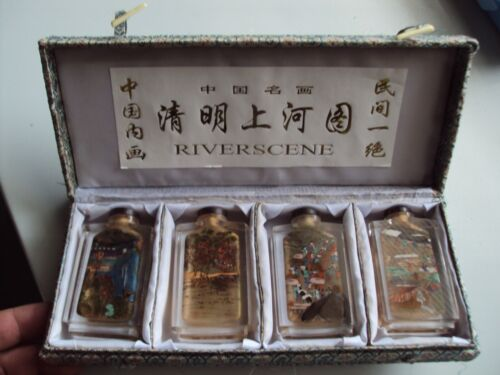 RIVERSCENE Vintage 4 snuff bottles with reverse hand painted  & Box
