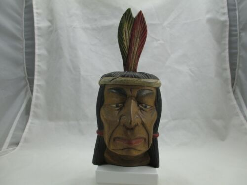 Vintage Native American Carved Wooden Indian Bust Cigar Store Sculpture 430E
