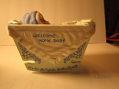 Home Cradle ( Welcome Home Baby in Wooden Cradle PRECIOUS MOMENTS blue)
