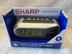Sharp SPC100D Electric Digital Dual Alarm Clock LED Large Display Battery Backup