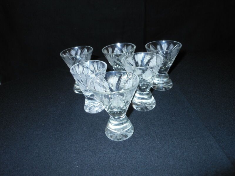 VINTAGE LOT OF 6 CUT CORDIAL GLASSES