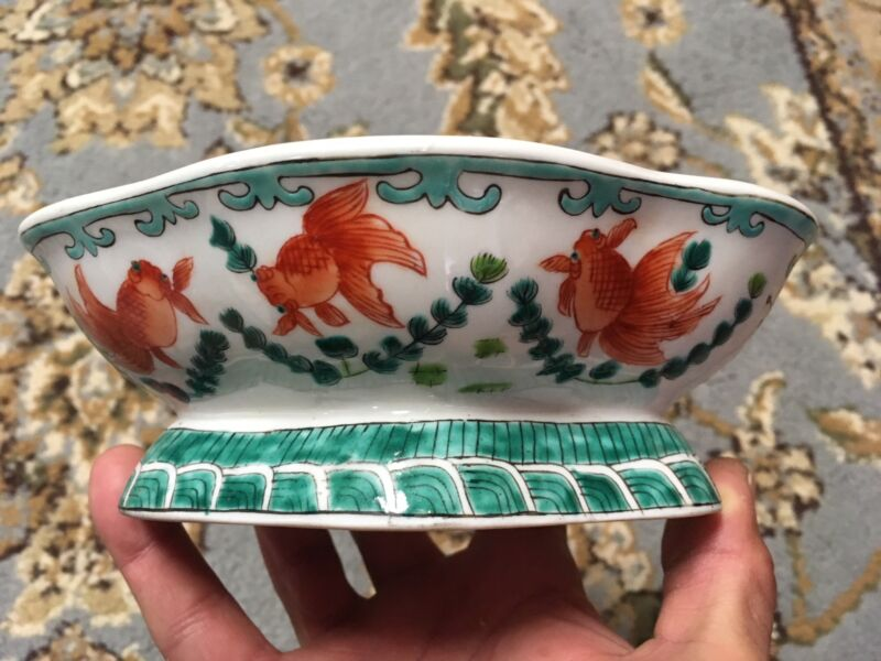 Antique Chinese Porcelain Scalloped Footed Dish Bowl Hand Painted Gold Koi Fish